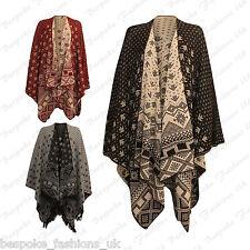 Ladies Women's Knitted Fine Aztec Reversible Poncho Wrap Cardigan Shawl 12-26