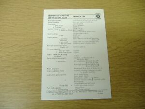ORIGINAL BRITISH LEYLAND LEYCARE SERVICE DATA CARD FOR THE TRIUMPH TR6