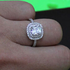 2.20 Ct Solitaire Diamond Engagement Ring 14K White Gold Cushion Rings Size 6 7