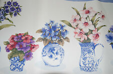 Lot of 2 Rolls Pink Purple Blue Flowers in Vases Floral Wallpaper Borders W1200