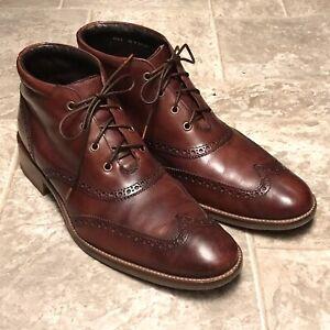 Cole Haan Liam Wingtip Lace-up Boots Dark Burgundy Brown Men's Size 10 M