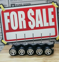 Hot Wheels 1/64 Rubber Wheels Tires Real Riders > 7FRR > Chrome > 10mm > 5 Sets