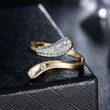 Popular Women Sapphire Crystal Gold Platinum Snake Ring Open Cuff Adjustable