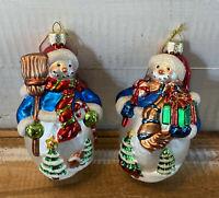 Lot of 2 Vintage LAO MAI Blown Glass Large Snowman Christmas Ornaments
