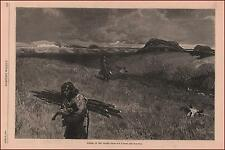 INDIAN Women Carrying Wood, Plains, by Farny, antique engraving, original 1884