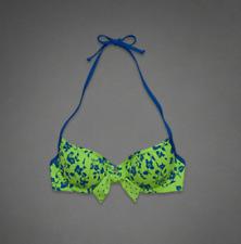 ABERCROMBIE & FITCH Women's Swimwear Bikini Top Green Floral Size L