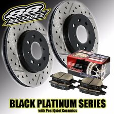 Front Drilled Slotted Black Platinum Rotors & Posi Quiet Brake Pads Evo 8 9