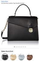Calvin Klein CK Authentic Iris Leather Satchel Black Bag NWT Retails $298