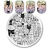 BORN PRETTY Round Nail Art Stamp Template Cat Bear Patterns Design Image Plate
