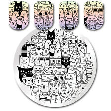 BORN PRETTY Nail Art Stamp Template Cat Bear Design Image Manicure Plate Stencil