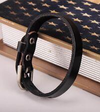 JG458 Black Simply Rock Single Wrap Genuine Leather Bracelet Buckle Cuff Mens