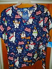 NEW FROSTY THE SNOWMAN Cartoon Christmas Womens Scrubs Scrub Top 3XL / XXXL #XM5
