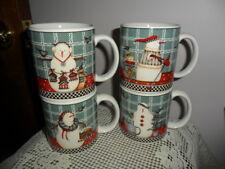 Debbie Mumm  Frosty Folks  Mug Set OF 4  Sakura Snowman MUGS 1998