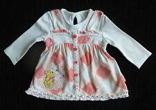 Baby clothes GIRL 0-3m Disney Pooh Bear/lily pad peach check long sleeve dress