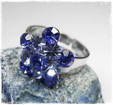 NEU Ring DAMENRING mit SWAROVSKI STEINE in Blau/Saphir/Light Saphir