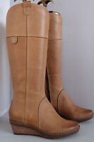 Clarks Softwear Boots MARILYN LISA Caramel Leather Wedge Platfrom Full Zip