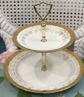Vintage 2 Tier, 22 Karat Gold Cake Plate By Eastern China * Made In NY, USA *