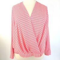 Worthington Women's Surplice Blouse Size 3X Orange White Geometric Long Sleeve