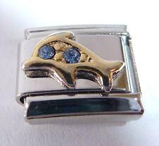 GOLD DOLPHIN Italian Charm BLUE GEMS March 9mm fits Classic Starter Bracelets