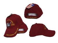 Marines USMC Bulldog Once a Marine Always a Marine Embroidered Red Hat Cap