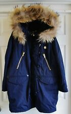 LOVE MOSCHINO Ladies Fur Parka Hooded Navy Blue Coat Italy Size M Medium