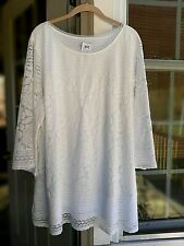 ISAAC MIZRAHI BRIGHT WHITE 3/4 SLEEVE SCOOP NECK MIXED LACE TUNIC ~ 2X