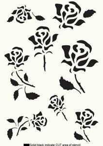 Flower Stencil Rose Painting Wall Furniture Cardmaking Reusable Crafts Art FL121