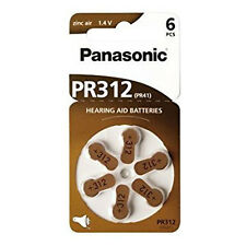 6 Panasonic PR312 Hearing Aid Zinc-Air Battery PR 41 6LB Batteries 1.4v