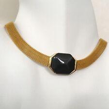 Crown Trifari Art Deco Mesh Choker Necklace Black Octagon Gold Tone  Vintage