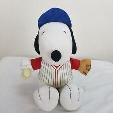 "Peanuts Snoopy Beagle Dog Plush Stuffed Baseball Metlife 10"" Charlie Brown"