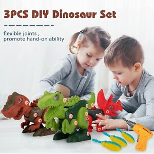 Take Apart Dinosaur With Electric Drill Kids Learning Toys DIY Construction Sets