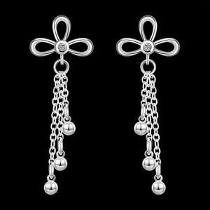 Silver Plated 925 Long Tassel Flower Clover Bead Drop Crystal CZ Dangle Earrings