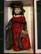 """NIB Collectible Memories 17"""" Porcelain Doll Madeline With Stand & Display Case"""