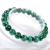 8mm Green Malachite Round Beads Stretch Bracelet Bangle 7.5''