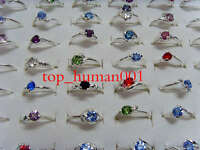 wholesale lots 30pcs crystal Rhinestone  sliver plated colorful Lady's ring free
