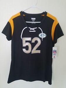 NFL Team Apparel Green Bay Packers #52 Clay Matthews V-Neck Shirt Womens -Black