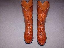 Lucchese Alligator Head Cut Cowboy Western Boots Mens Size 9 Cognac Original Box