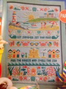 (U) Sea View Summer Sampler Beach Huts Sand Castle Shells Cross Stitch Chart