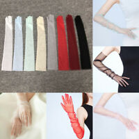 1pair sheer tulle long gloves lace semi sheer bridal wedding gloves photo RGS`