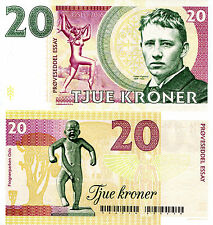 NORWAY 20 Kroner Fun-Fantasy Note Gustav Vigeland statue Child crying 2016 Issue