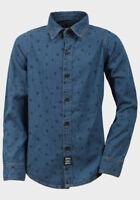 Boys Skull Print Denim Shirt Blue Long Sleeve Kids Clothes Top New 8-13 Years
