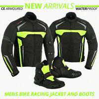 Textile Motorbike Jacket Waterproof Motorcycle Leather Shoes Bike Racing Boots