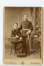 Vintage Cabinet Card Prussian Military Officer & Wife Uniform Sabre Hat Bromberg
