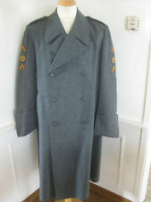 Mens Swiss Army Military Gray Wool Trench Coat Pea Coat Jacket Vintage