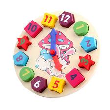 Wooden Baby Kids Digital Geometry Clock Educational Toy Building Blocks Toy OK