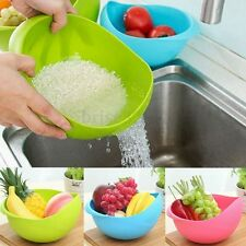 Plastic Vegetable Fruit Rice Wash Sieve Strainer Colander Basket Kitchen Tool