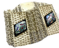 Vintage Silver Enamel BIRDS & DEER Wide Filigree PERSIAN Bracelet GIFT BOXED