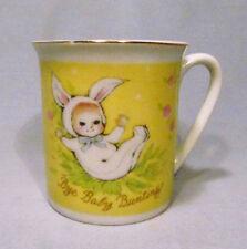 Vintage Josef Originals Bye Baby Bunting Bunny Suit Porcelain Child Mug Cup