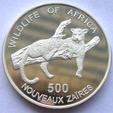 Zaire 1996 Leopard 500 Zaires Silver Coin,Proof
