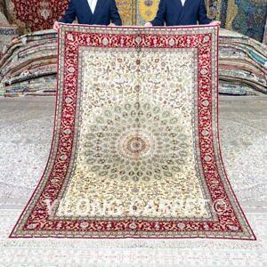 Yilong 5'x8' Traditional Handwoven Silk Carpet Medallion Home Handmade Rug 413B